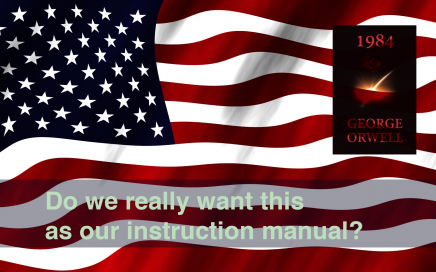 """an image of the cover of the novel """"1984"""" over the American flag, with the text """"Do we really want this as our instruction manual?"""""""