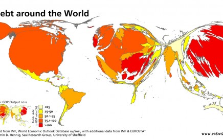 World map rescaled by amount of debt per country