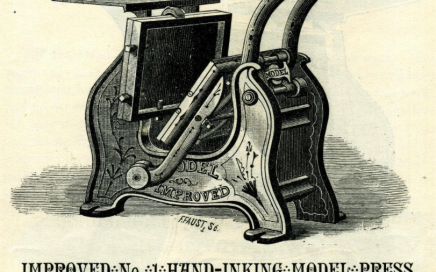 Image from 19th century brochure advertising Improved No. 1 Hand-Inking Model Press